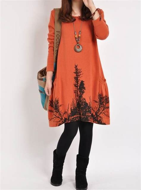 Oversized Jumbo Tunic Blouse Muslim Bigsize 04401 orange cotton sweater large knitted sweater casual sweater tops knitwear