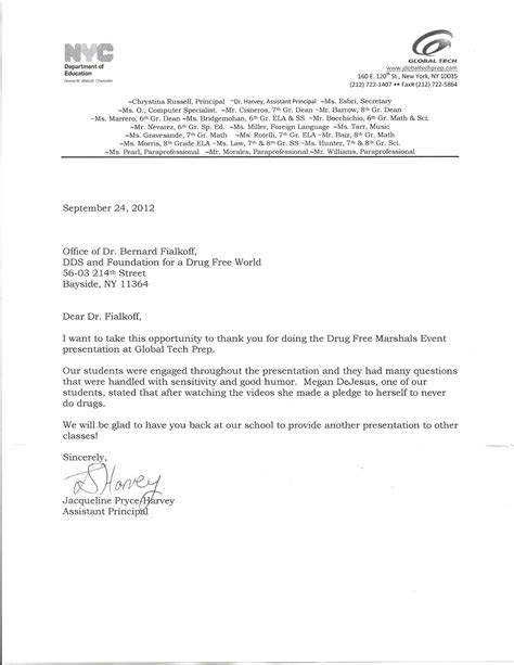 thank you letter after dental school community education program dr bernard fialkoff