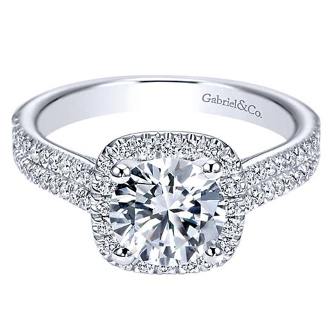 cushion cut engagement rings with no halo gabriel co engagement rings halo 0 45ctw