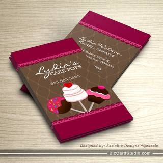 free cake decorating business card templates cake pops bakery business cards