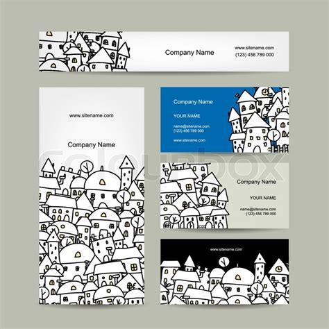 cityscape business card template business cards design winter cityscape sketch vector