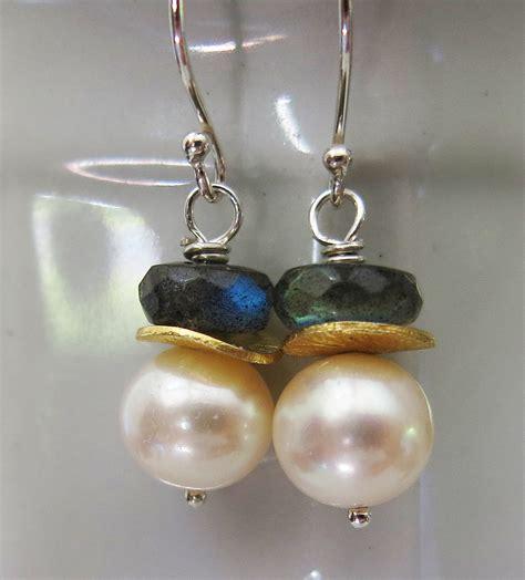 Handmade Gemstone Earrings - handmade pearl and labradorite earrings handmade jewelry