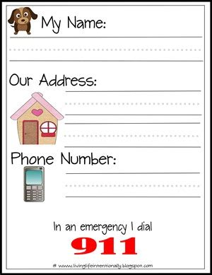 printable teach your their name address and phone