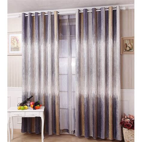 Gray Striped Curtains European Gray Modern Brief Fashion Polyester Striped Curtains