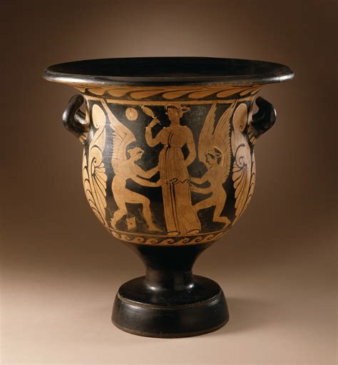 Red Ceramic Vase File Bell Krater With Two Female Acrobats And Cupids