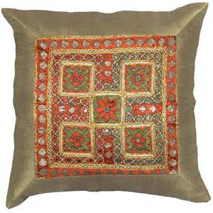 Sofa Accent Pillows Silk Accent Sofa Zardozi Pillow Cover 16 X 16 Kashmir Pillows