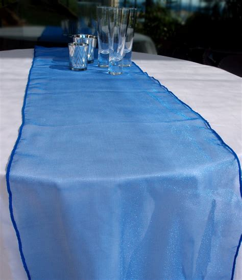 organza table runner blue