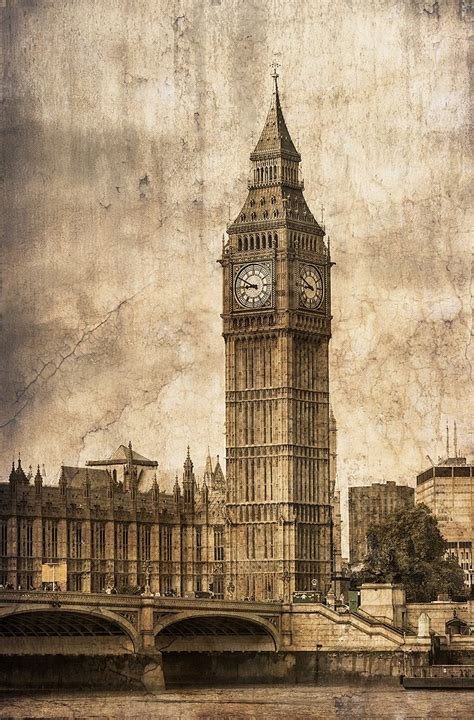 imagenes vintage londres cuadro torre del reloj big ben londres n 186 07