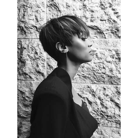side profile of hairstyles tyra banks has a pixie haircut photos