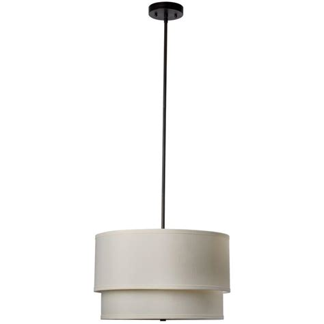 Globe Electric 1 Light White Fabric Shade Plug In Drum Pendant Lighting With Drum Shade