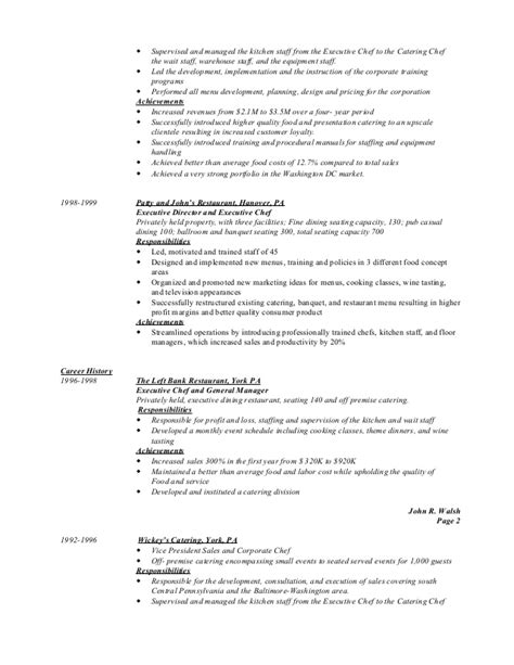 sle resume for kitchen kitchen staff resume sle 28 images event project