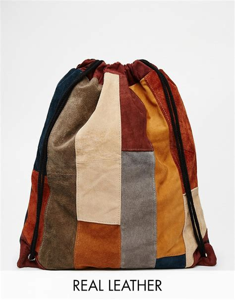 Patchwork Backpack - milk it milk it suede drawstring backpack in patchwork