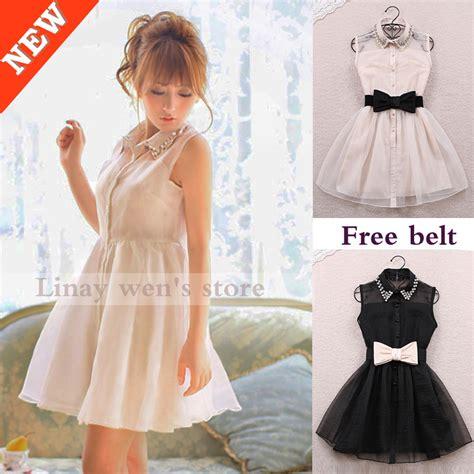 Dress Korean Style Sleeveless Chiffon Dress 2014 winter dress pearl lapel sleeveless chiffon slim korean style gauze black designer
