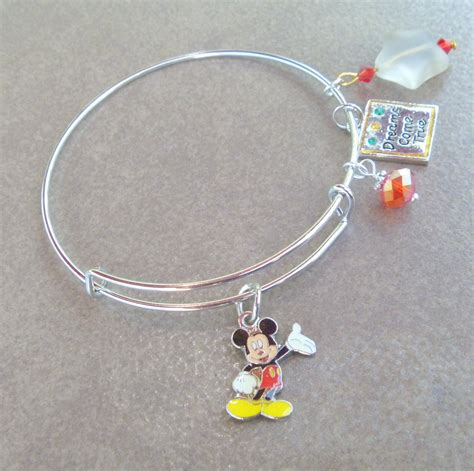 mickey mouse charm adjustable bangle bracelet bracelets