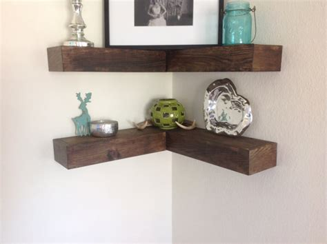 beautiful rustic inspired corner wall floating shelf shelves