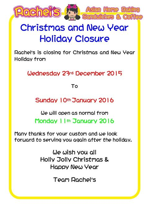 new year notice and new year closure s caf 233
