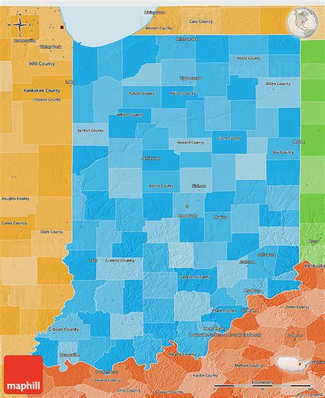political map of indiana political shades 3d map of indiana