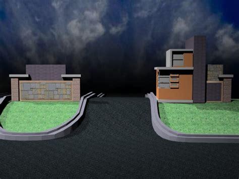 arsitektur rumah kecil pintu gerbang
