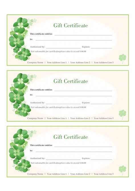 Gift Cards Templates by Gift Certificate Template Free Printable Gift Certificates