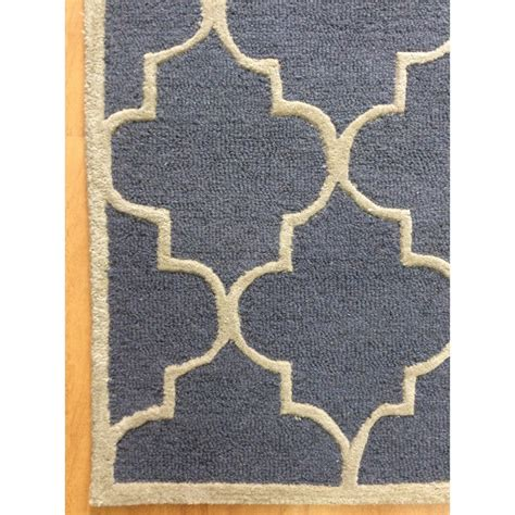 Navy Blue And Beige Area Rugs Handmade Wool Modern Navy Blue Beige 5 X 8 Lt1216 Area Rug