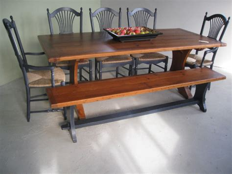 trestle table and bench half moon trestle table bench and matching chairs lake