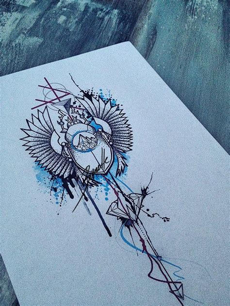 watercolor tattoo design dotwork dotwork scarab bug with elements on blue
