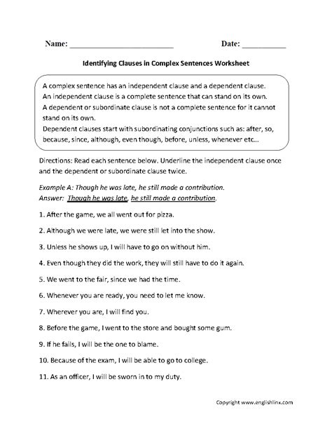 comfortable sentence sentences worksheets complex sentences worksheets