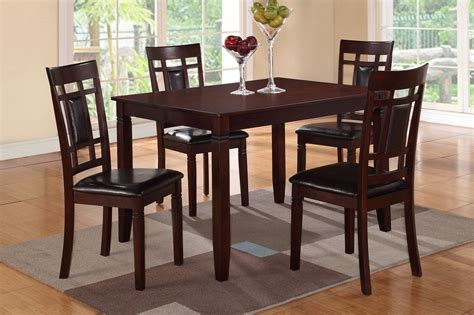 Brown Dining Table And Chairs Poundex F2232 Brown Leather Dining Table And Chair Set A Sofa Furniture Outlet Los