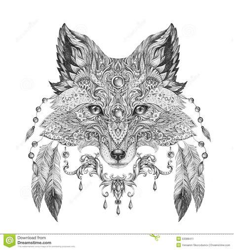 tattoo portrait of a wild fox stock illustration image