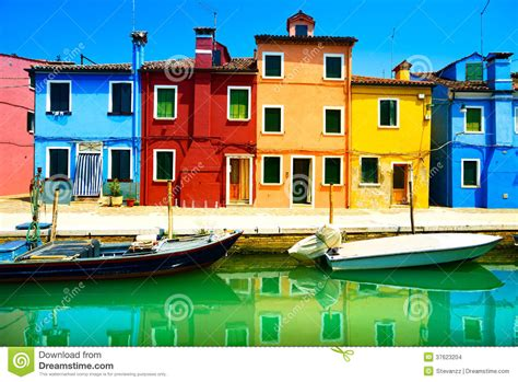 colorful homes venice landmark burano island canal colorful houses and