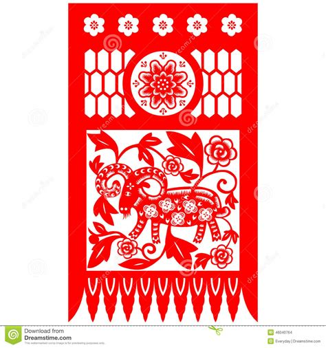 new year paper cutting template goat new year goat stock illustration image 46040764