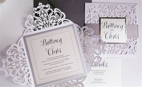 white and wedding invitations silver wedding invitations listmachinepro