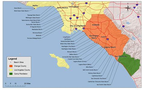southern california map of beaches economics noaa s marine debris