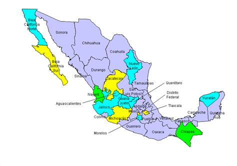the map of mexico states mexico map and states