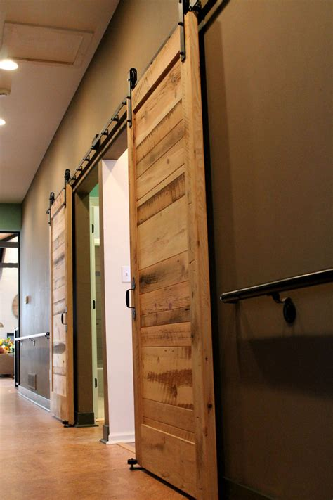 Sliding Barn Doors Bathroom Rustic With Acacia Wood Floor Reclaimed Sliding Barn Doors