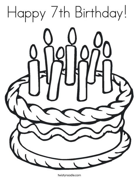 coloring happy birthday cakes candles pages happy 7th birthday coloring page twisty noodle