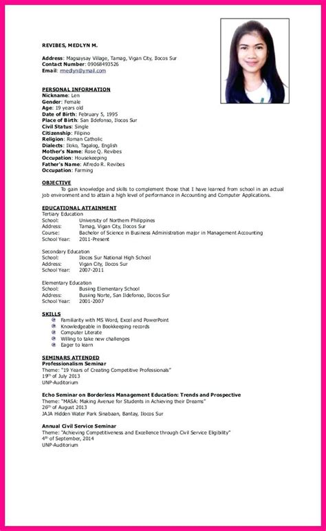 resume format for undergraduate students philippines cv sle in doc gallery certificate design and template