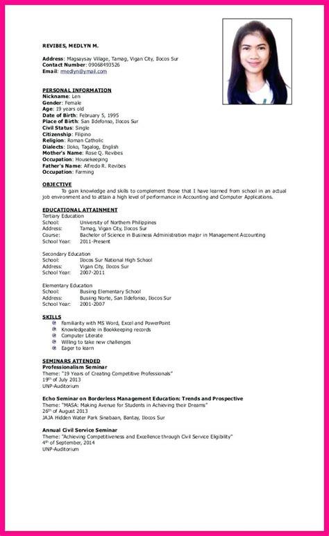 resume format sle doc philippines resume sle doc philippines krida info