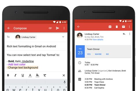 google updates gmail  android  rich formatting