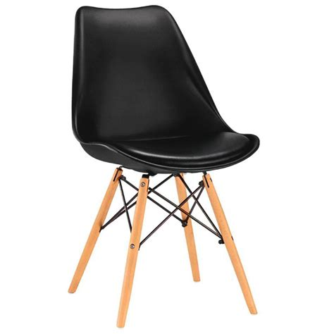 sedia di design originale nera in metallo legno e plastica