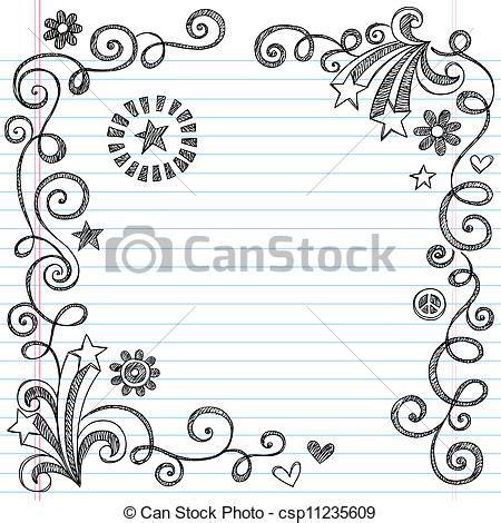 Home Design Sketchbook Vector Clipart Of Sketchy Doodle Page Border Back