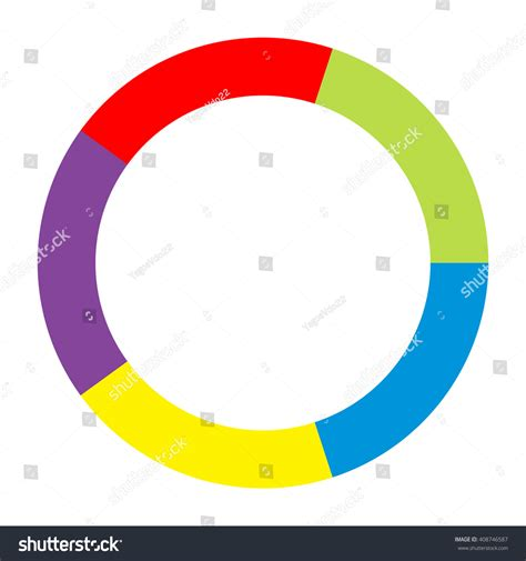 colored section circle divided into five equal parts stock vector