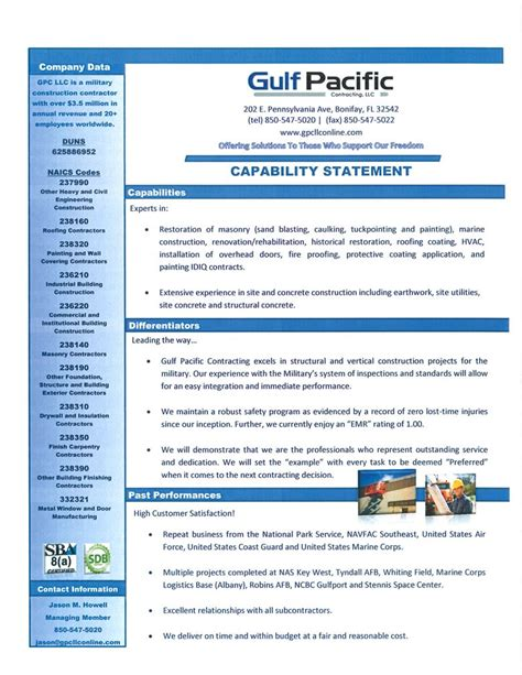 capability statement template business capability statement pictures to pin on
