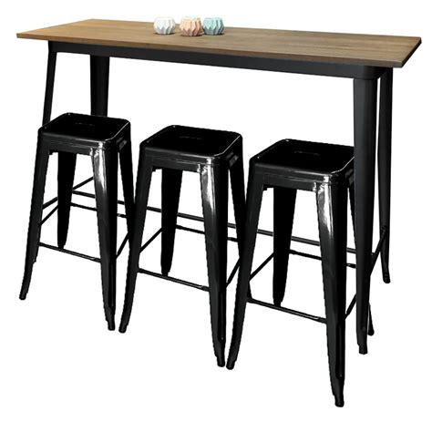 Dining Table With Bar Stools by Replica Tolix Bar Table Wooden Top Large Chairforce