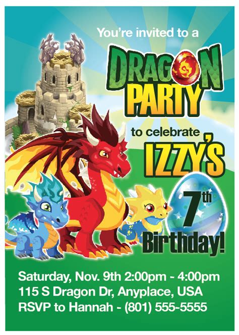printable birthday invitations dragons custom printable dragon city party invitation birthday