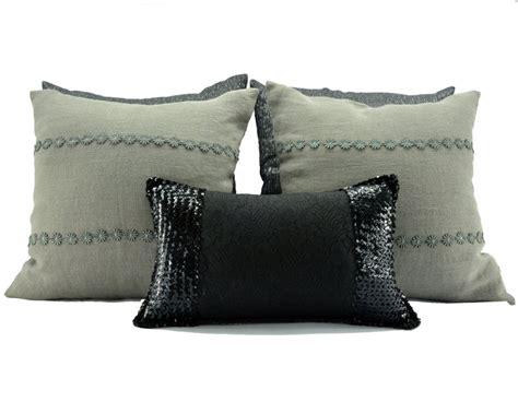 cuscini da letto set cuscini da letto lino e paillettes per la casa e per