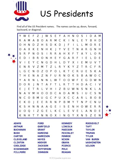 Us Search Free Us Presidents Word Search