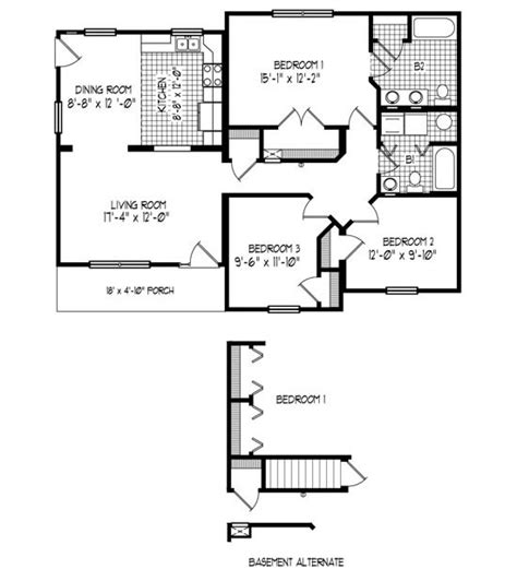 43 x32 3 bedroom 2 baths cabin floor plans
