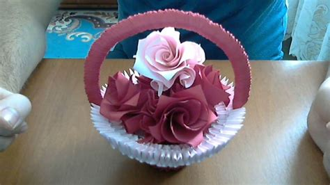How To Make Paper Flower Basket - how to make 3d origami basket with flowers model 2