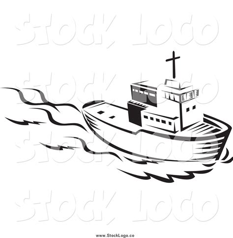 boats and hoes clipart vector clipart of a black and white tug boat logo by